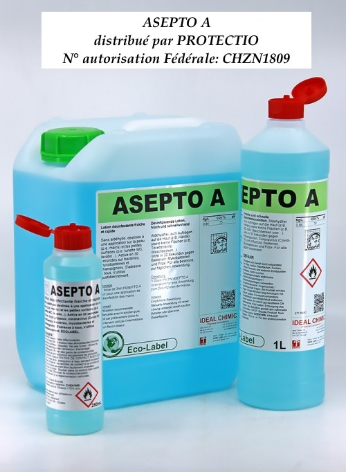 Désinfectant Asepto solution hydralcoolique Swiss Made Eco Label Protectio