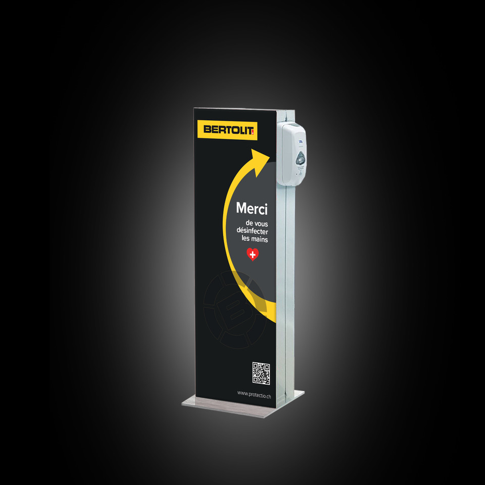 Distributeur solution hydroalcoolique safe station Bertolit Protectio