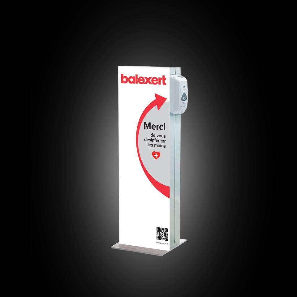 Distributeur solution hydroalcoolique safe station Balexert Protectio