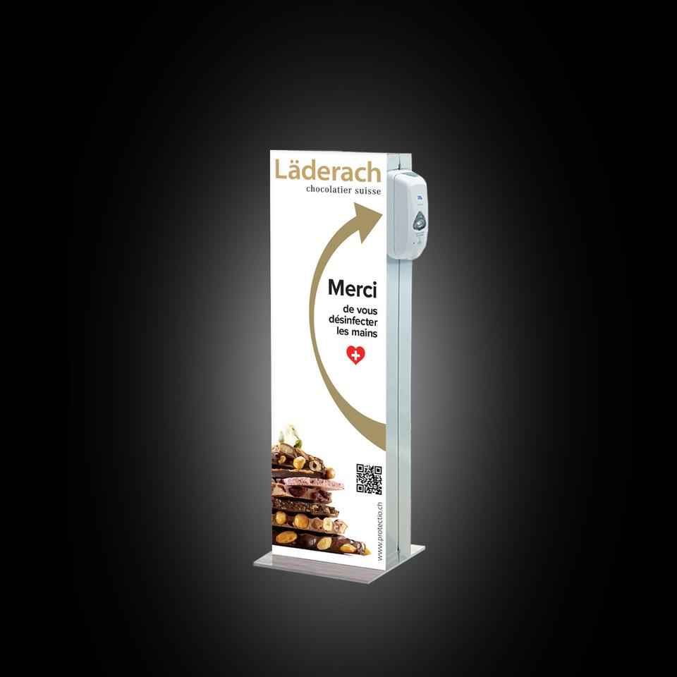 Distributeur solution hydroalcoolique safe station Laderach Protectio
