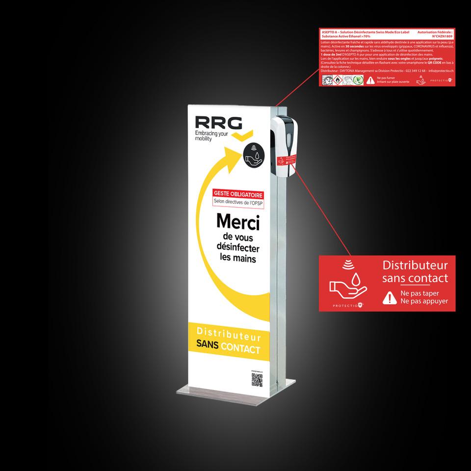 Distributeur solution hydroalcoolique safe station RRG Protectio
