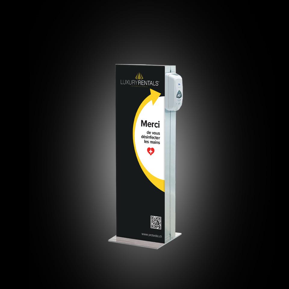 Distributeur solution hydroalcoolique safe station Luxury Rentals Protectio