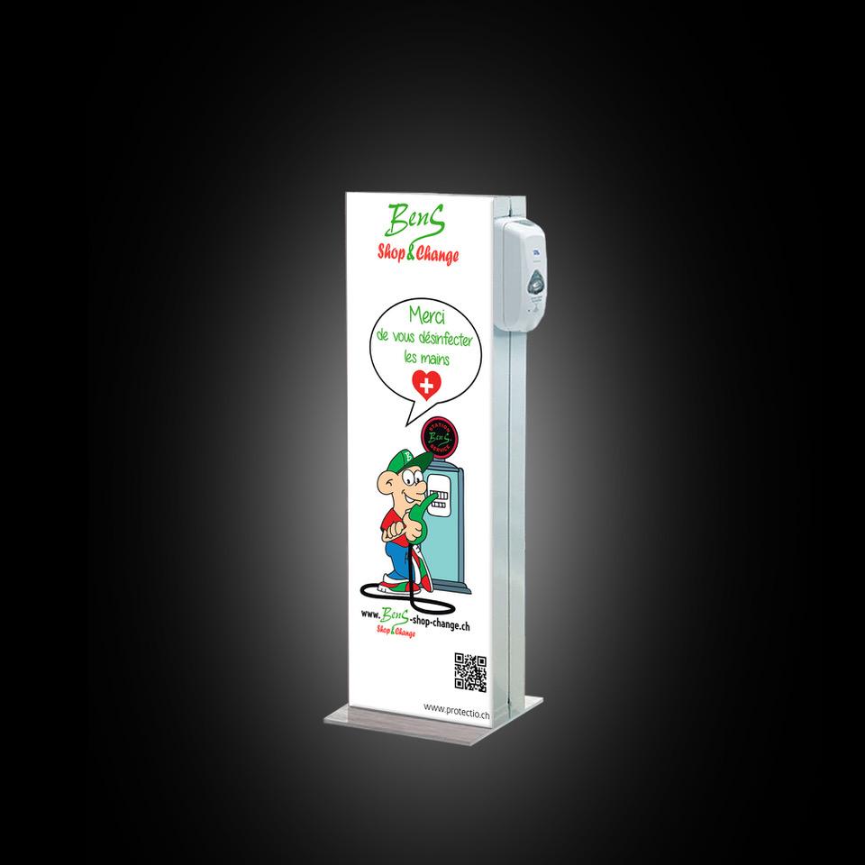 Distributeur solution hydroalcoolique safe station station service Protectio