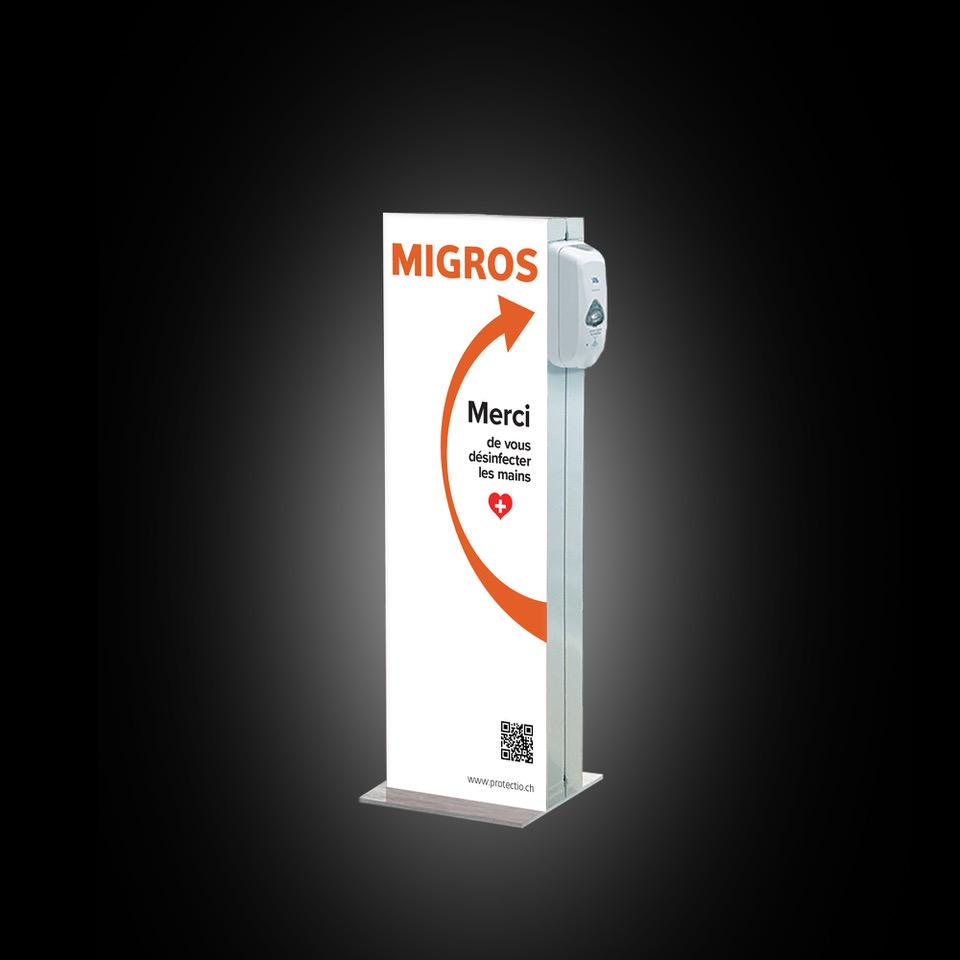 Distributeur solution hydroalcoolique safe station Migros Protectio